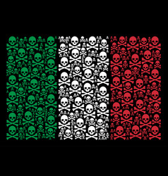 Italy flag mosaic of death skull icons vector