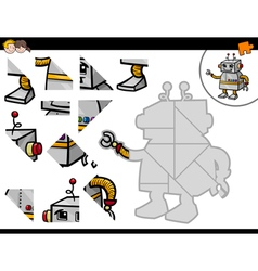 Jigsaw puzzle activity with robot vector