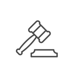 judge gavel or auction hammer line outline icon vector image