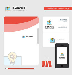 laptop business logo file cover visiting card and vector image