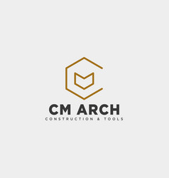 Letter cm simple line business logo template vector