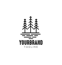 Line pine tree logo design inspiration vector