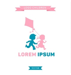 Logo Children run and play with a kite vector image