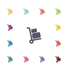 Luggage trolley flat icons set vector image