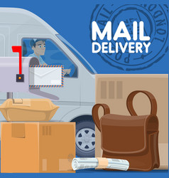 Mail delivery service postman in car and parcels vector