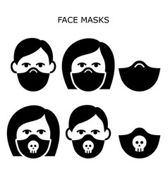 Man and woman wearing safety face masks ico vector
