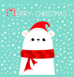 Merry christmas candy cane polar white bear cub vector