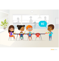 new pupil carrying tray food and greeting vector image