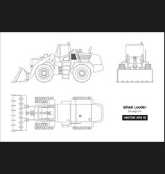 outline drawing of wheel loader vector image