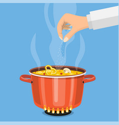 pan on the fire a pot of soup vector image