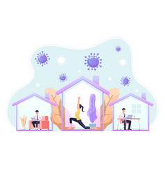 people doing activity or working at home to vector image