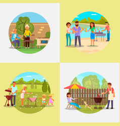 People on bbq party flat vector