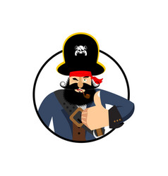 Pirate thumbs up filibuster winks emoji buccaneer vector
