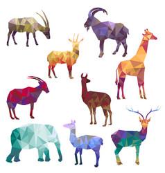 Polygonal silhouettes animals vector