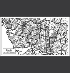 Porto portugal city map in retro style outline map vector