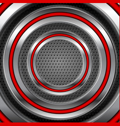 red and steel metallic technology circles abstract vector image