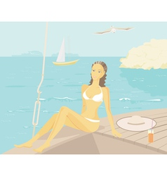 relaxing on a yacht vector image