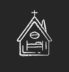 Religious shelter chalk white icon on black vector