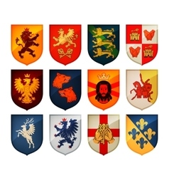 Royal coat of arms on shield logo Heraldry vector image