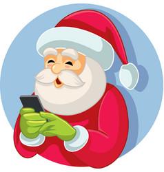 Santa claus checking smartphone vector