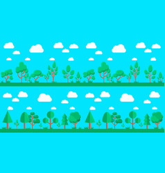 set natural forest landscapes flat design vector image