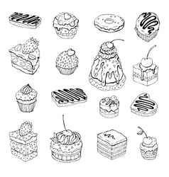 Set of cute cake Contour vector image