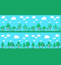 set of natural forest landscapes flat design vector image