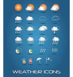 Set of weather icons for web and mobile vector image