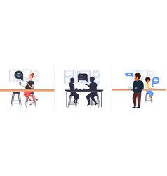 set people using mobile app chat bubble social vector image