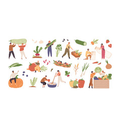 set various tiny people with different food and vector image