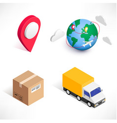shopping delivery isometric icons set vector image