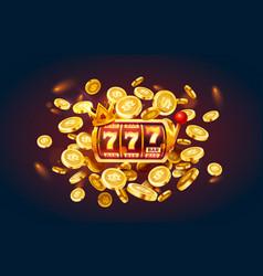 Slots 777 banner golden coins jackpot casino 3d vector