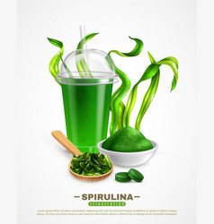 Spirulina realistic background poster vector