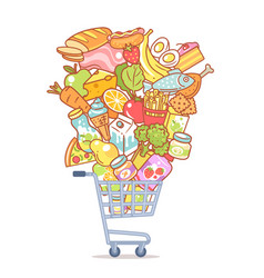 supermarket cart full food shopping in mall vector image