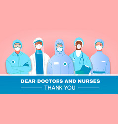 Thank you tribute or card to doctors and nurses vector