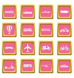 transportation icons pink vector image