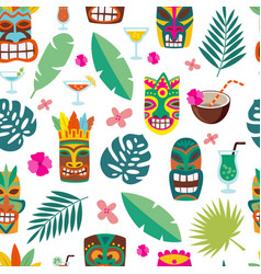 tropical leaves and totem masks in seamless vector image