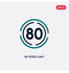 Two color 80 speed limit icon from maps and flags vector