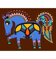 Ukrainian tribal ethnic painting unusual horse vector