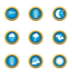 Weather widget icons set flat style vector