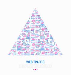 Web traffic concept in triangle vector