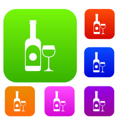 wine and glass set collection vector image