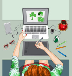 woman working at laptop remote work vector image