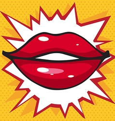 beautiful smile lip gloss on a bright yellow vector image vector image