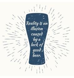 beer glass and vintage sun burst frame Beer vector image