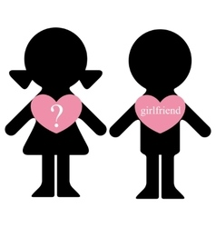 Boy and girl with lovers in hearts vector image vector image