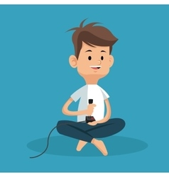 boy sitting with joystick game vector image