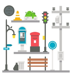 Flat design street items set vector image vector image