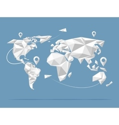 Low poly world map vector image