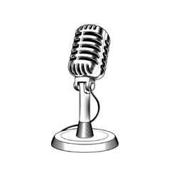 Old microphone made in engraving style vector image